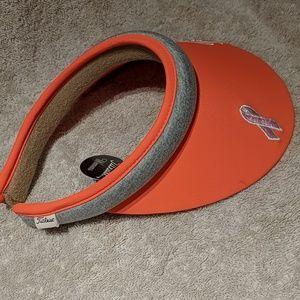 Titleist bright orange visor w pink ribbon New